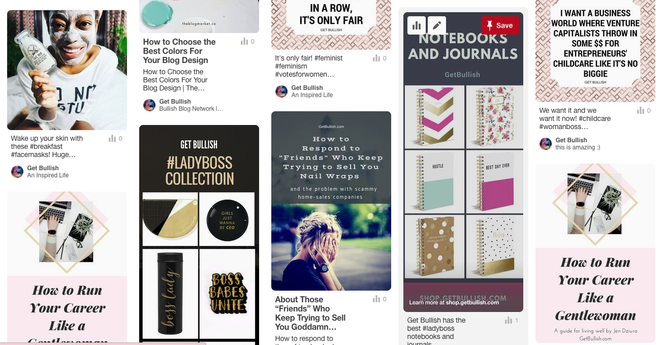 Follow the Get Bullish pinterest for workplace inspo, and new products and styles