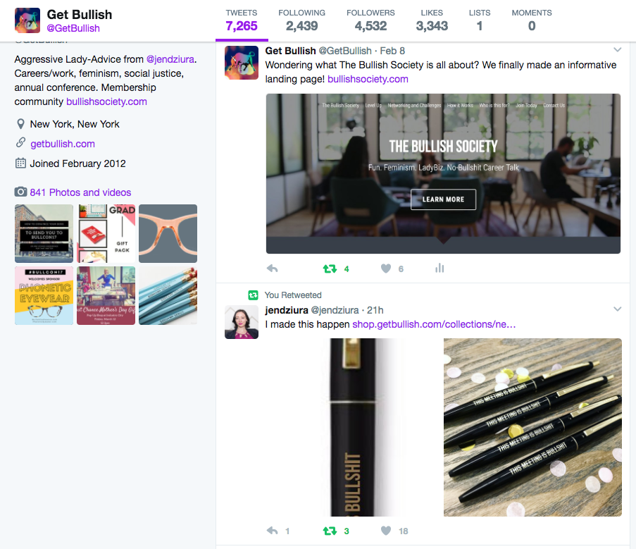 Follow the Get Bullish twitter for snarky comments, feminist articles and new products
