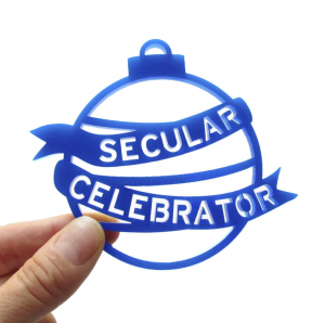 Secular Celebrator Laser Cut Ornament in Blue